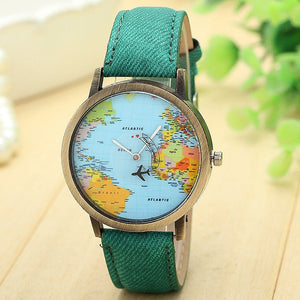 Travel Watch Around The World Watch with Custom Leather Band for Women Green Watch