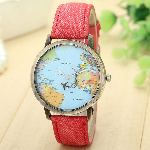 Travel Watch Around The World Watch with Custom Leather Band for Women Red Watch