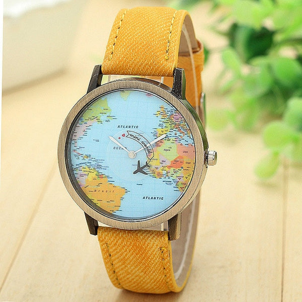 Travel Watch Around The World Watch with Custom Leather Band for Women Yellow watch