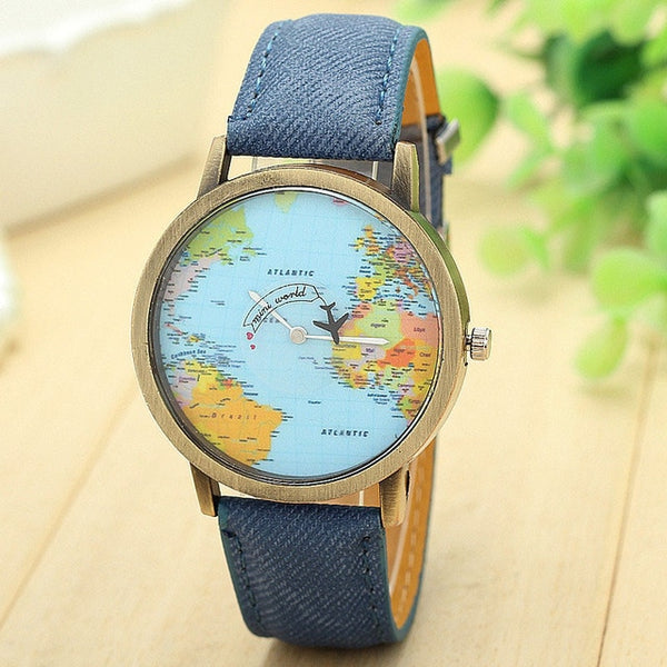 Travel Watch Around The World Watch with Custom Leather Band for Women blue watch
