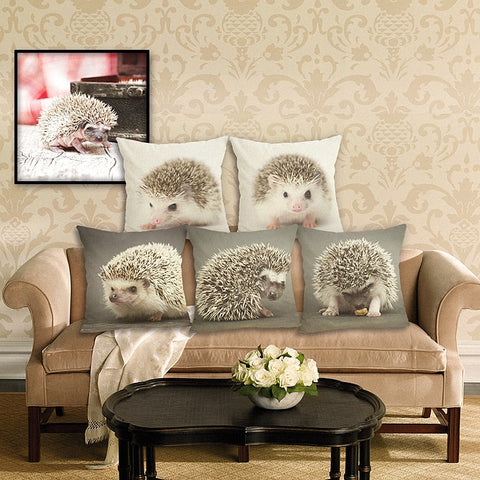 Hedgehog Pillow Case - Hedgehog Sofa Cushion - Hedgehog Soft Pillow Cover  - Hedgehog Bedding Pillows