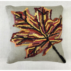 Autumn Leaf Pillow Rug Hooking DIY Kit- Primitive Beginner Rug Making Project - Punch Needle Supplies NZ
