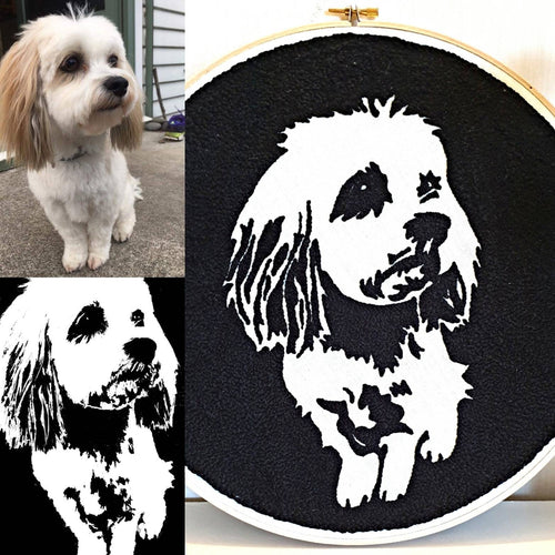 Punch Needled Dog Sillouette Wall Art - Punch Needle Supplies NZ