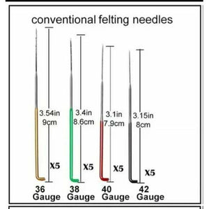 20 Triangular Felting Needles 42, 40, 38, 36 guage. - Punch Needle Supplies NZ