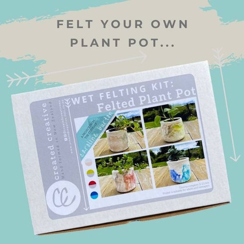 Wet Felted Potted Plant Kit by Created Creative - Punch Needle Supplies NZ