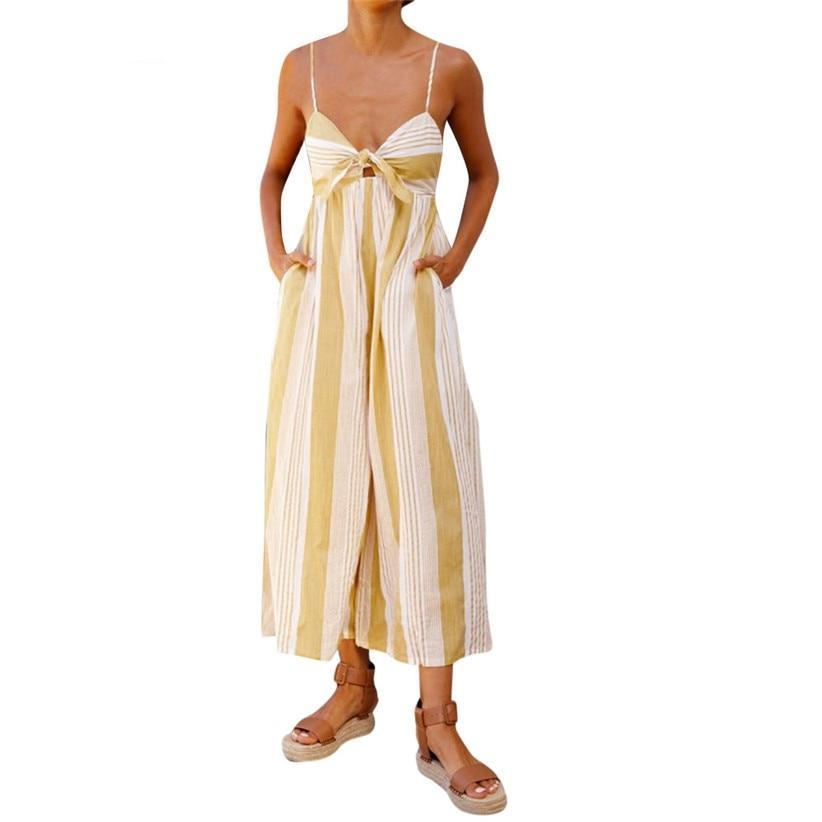 c82f009a100 Fashion V Neck Sleeveless Loose Striped Jumpsuit For Women ...