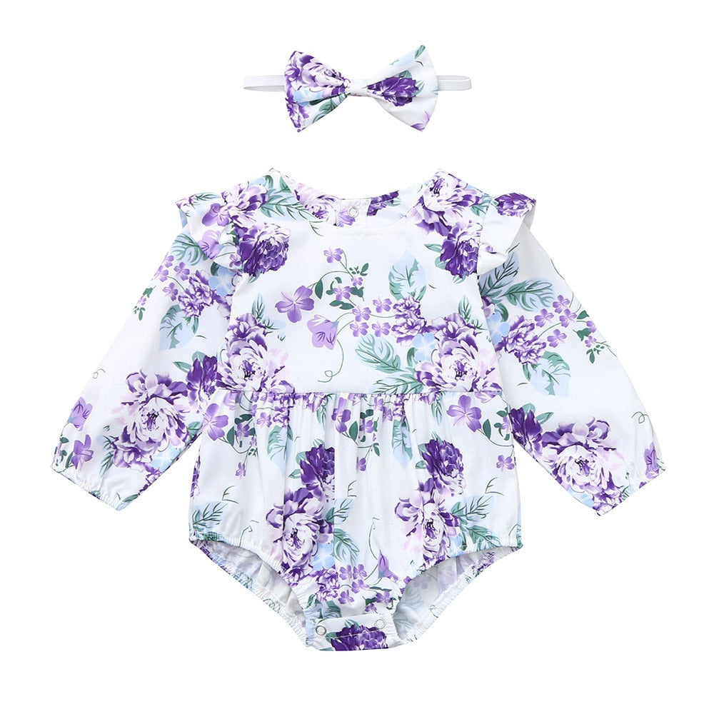 9520e8aed5c368 Infant Baby Girls Rompers Long Sleeve Floral Print Autumn Winter Clothe ...