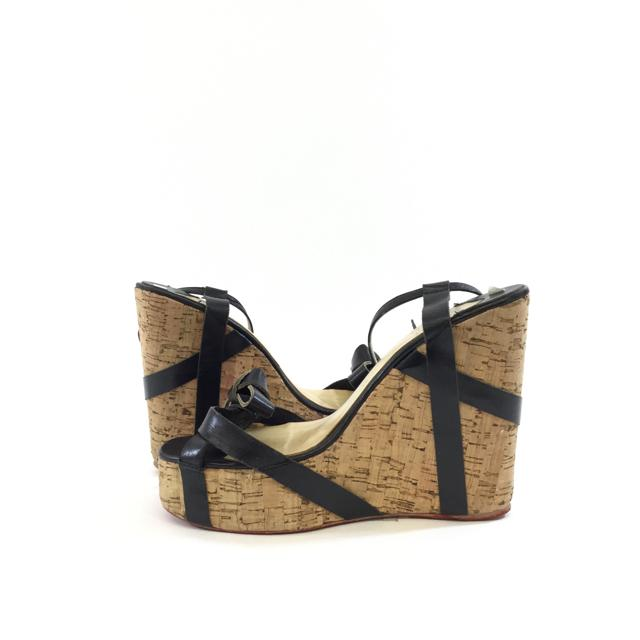 Christian Louboutin Cork Wedge Sandals. Size 39 - shoesChristian Louboutin39, Black, Christian LouboutinChic To Chic Consignment
