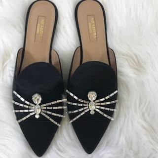 Aquazzura Black Satin Flat Mule. Size 38 - shoesAquazzura38, Aquazzura, BlackChic To Chic Consignment