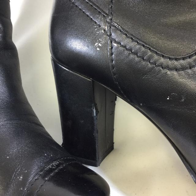 Chanel Mid-Thigh Leather Boots. Size 37.5 - shoesCHANEL37.5, Black, boots, CHANELChic To Chic Consignment