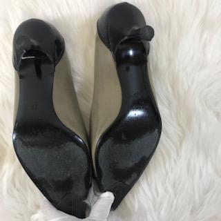 Chanel Pointy Toe Kitten Heel Leather Pump. Size 39