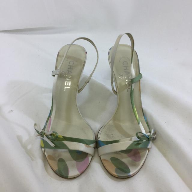 Chanel Satin Pastel Strappy Heels. Size 37