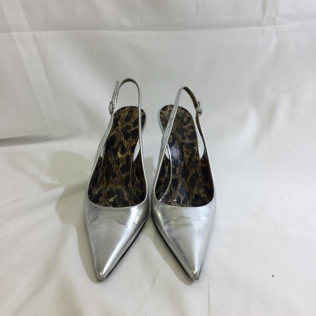 Dolce & Gabbana Metallic Leather Pointy Toe Slingback Heels. Size 37