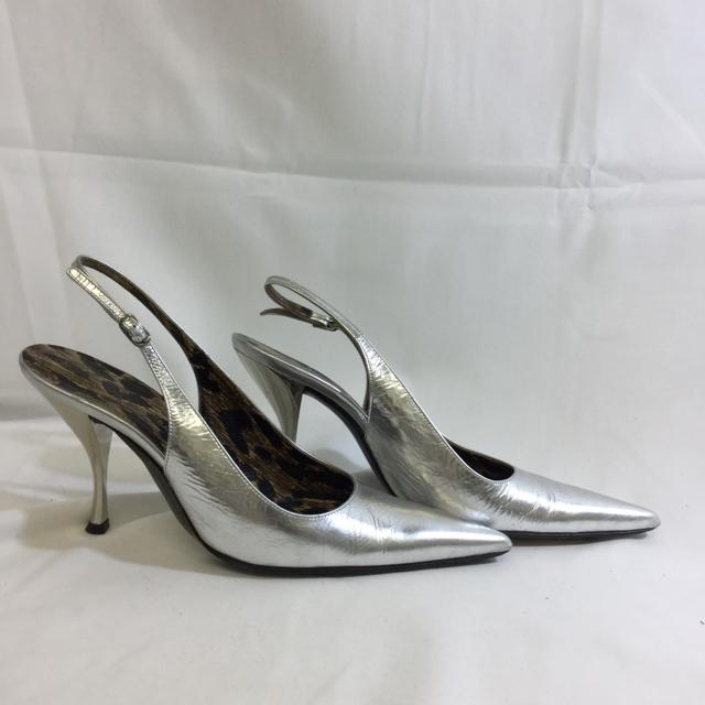Dolce & Gabbana Metallic Leather Pointy Toe Slingback Heels