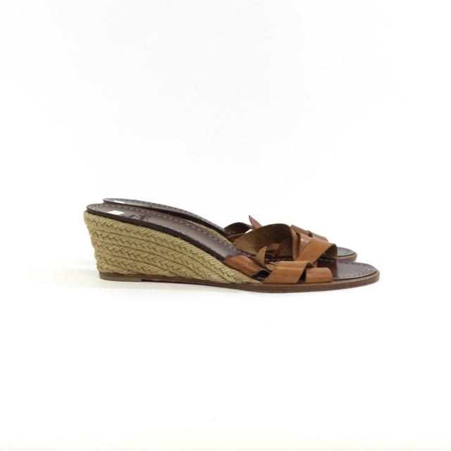 Christian Louboutin Leather and Wood Wedges. Size 40 - shoesLouboutin40, Louboutin, TanChic To Chic Consignment