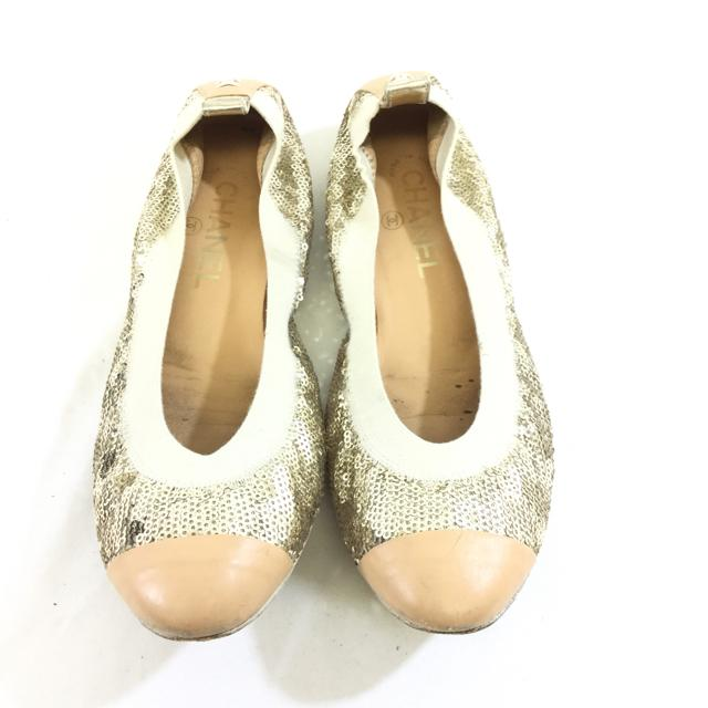 Chanel Sequin Ballet Flats. Size 37.5 - shoesCHANEL37.5, CHANEL, Gaithersburg, GoldChic To Chic Consignment