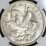1935 NGC MS 65 Rocking Horse Silver Jubliee Crown GREAT BRITAIN Coin (18052006C)