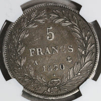 1830-A NGC VF 25 FRANCE Silver 5 Francs Scarce Raised Edge 417K Minted Louis Philippe I Coin (18091703C)