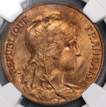 1907 NGC MS 64 RB FRANCE 10 Centimes Marianne Coin POP 2/5 (17120402C)