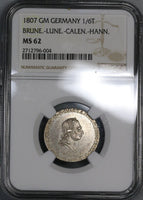 1807 NGC MS 62 HANNOVER Silver 1/6 Thaler George III Coin POP 1/1 (17061802CZ)