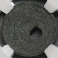 1941 NGC XF Mint Error France 10 Centimes Off Center Hole Coin (18091804C)
