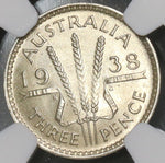 1938 NGC MS 61 AUSTRALIA Sterling Silver 3 Pence George VI (18090205C)