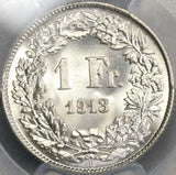 1913 PCGS MS 64 SWITZERLAND Silver 1 Franc BU Swiss Coin (17102001CZ)