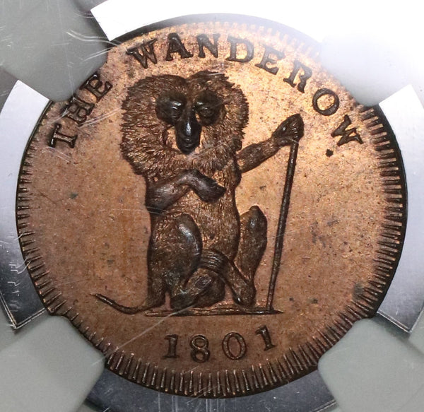 1801 NGC MS 64 Pidcock's Monkey Conder Wanderow & Pelican Farthing Middlesex D&H 1073 (18100104CZ)
