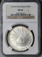 1899-Go NGC MS 62 Mexico Silver Peso Coin POP 12/8 (17110504C)