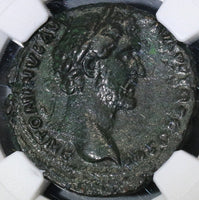 143 NGC Ch XF Roman Empire Antoninus Pius AS Military ANCILLIA 2 Shields  (18091201CZ)