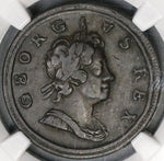 1718 NGC F 15 George I Dump 1/2 Penny GREAT BRITAIN Coin (18020405C)