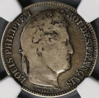 1840-K NGC VG 10 France 1 Franc Rare Bordeaux SIlver Coin 48K Minted (18052005C)