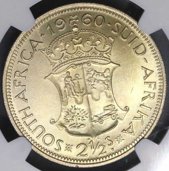 1960 NGC MS 63 SOUTH AFRICA 2 1/2 Shillings Last Year 12K Made (18091807C)
