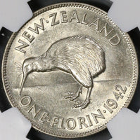 1942 NGC AU 58 New Zealand Silver 6 Pence & Florin & 1/2 Crown Coins (18021801C)