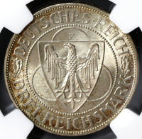 1930-F NGC MS 65 Rhineland Liberation GERMANY Silver 3 Mark (18090702CZ)