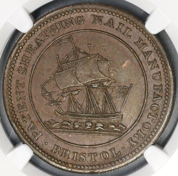 1811 NGC MS 62 Patent Sheathing Nail Penny Token Withers 463A (18021505C)