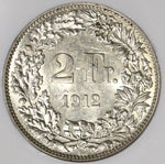 1912 NGC AU 55 SWITZERLAND Silver 2 Francs Scarce Date Coin POP 4/2  (17031003C)
