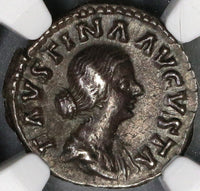 161 NGC Ch XF Faustina Jr Roman Empire Denarius Baby Commodus on Throne (17090505CZ)