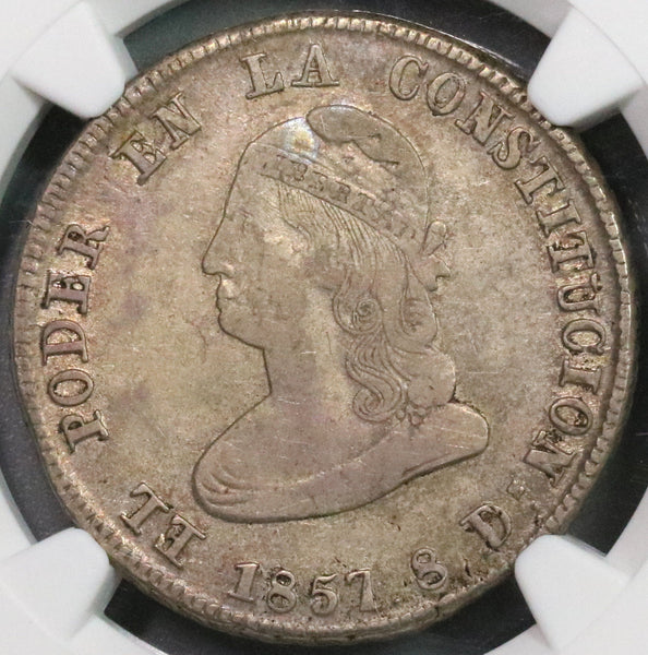 1857 NGC VF 35  Ecuador 4 Reales Scarce Liberty Head Coin (18100303CZ)