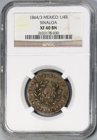 1864/3 NGC XF 40 MEXICO Sinola Culiacan 1/4 Real POP 1/0 Coin (18020903C)