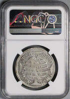 1758-R NGC F Brazil Silver 600 Reis Rare Type Portugal Empire Coin (18051604C)