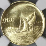 1974 NGC MS 66 MALTA Gold 20 Pounds Gozo Boat Coin 9K Minted (17110901CZ)