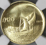 1974 NGC MS 66 MALTA Gold 20 Pounds Gozo Boat Coin 9K Minted (19071101CZ)
