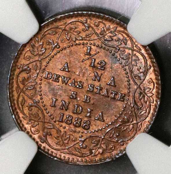 1888 NGC MS 63 DEWAS 1/12 Anna Senior Branch Victoria India Coin (17031601CZ)
