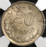 1901-Cn NGC MS 63 MEXICO 20 Centavos Culiacan Mint Silver Coin (18091608C)