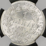 1867-M NGC MS 65 Papal States Silver 1 Lira Italy Coin POP 3/0 (18012001D)