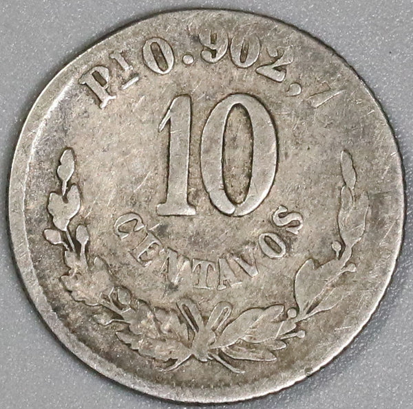 1871-Pi MEXICO Silver 10 Centavos 21K Coins Minted (18041903RE)