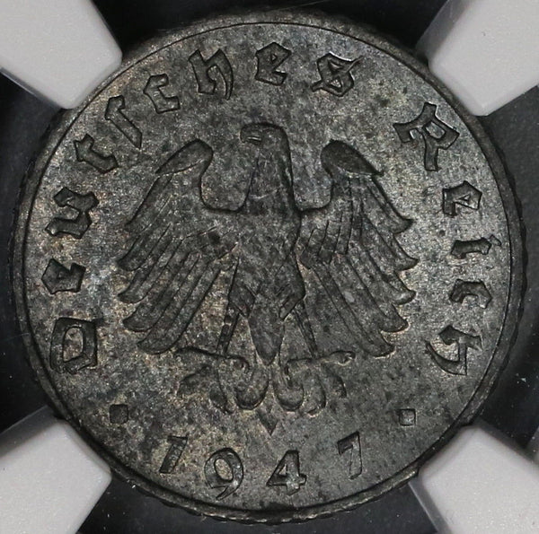 1947-A NGC MS 62 Allied Occupation Germany 5 Pfennig Coin (17102602C)