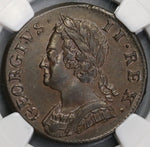 1752 NGC AU 58 George II 1/2 Penny GREAT BRITAIN Coin (18020406C)