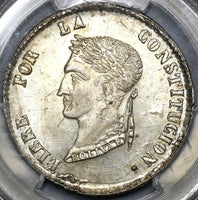1856 PCGS MS 62 BOLIVIA Silver 4 Soles FLASHY Coin (18091401C)
